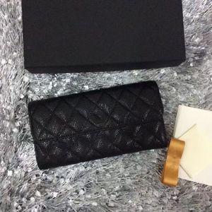 2017 venda Quente preto clássico Original carteira de couro acolchoado senhoras genuíno couro longo carteira moda embreagem pequena bolsa com caixa