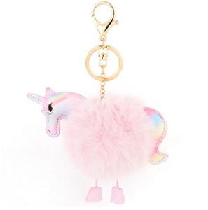 Lovely Fluffy Unicorn Pony Portachiavi Portachiavi Horse Bag Ciondolo Artificiale Pelliccia di coniglio Portachiavi Portachiavi per auto