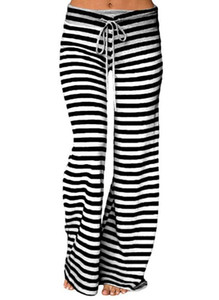 Fashion Women Long Pants Striped Prints Drawstring Loose Wide Leg Pants Long Trousers Causal Yoga Sportwear