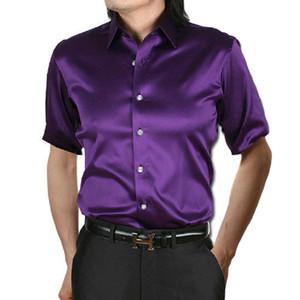 YJSFG HOUSE Nuevas camisas para hombre Thin Party Slim Fit Camisas de vestir Botón Botón de manga corta Camisas Casual Casual Tops Tallas grandes Camisetas de verano