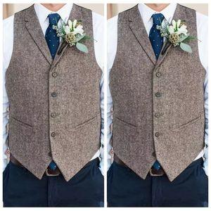 Country Farm Casamento Cinza Lã Coletes Costume Online 2021 Groom Colete Slim Fit Mens Vestido Terno Vest Prom Wedding Wedding Colete Amarrado Veste do Noivo