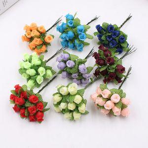 2cm Handmade Mini Silk Rose Bouquet Fiore artificiale Decorazione di cerimonia nuziale Fai da te Ghirlanda Clip Art Falso Fiore Decorazione 12 pz / lotto