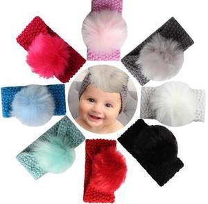 Bébé filles mode laine crochet bandeau tricot Hairband avec boule de cheveux décor hiver nouveau-né nourrisson oreille chauffe tête Headwrap