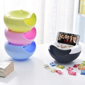 Creativo plástico Snack Food doble capa Peel Placa de nueces semillas de frutas Snack-tazón de fuente redondo conveniente mirar Holder TV Teléfono Caja de almacenamiento