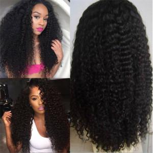 Top Grade QingDao Rabatt AAAAAAA 100% unverarbeitete Remy Jungfrau Menschenhaar lange natürliche Farbe Afro lockige volle Spitzekappe Perücke für Frauen