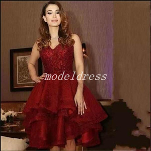 2019 Arabic Burgundy Short Cocktail Party Dresses V Neck Appliques Beads Evening Party Gowns vestidos de fiesta Special Occasion Dress