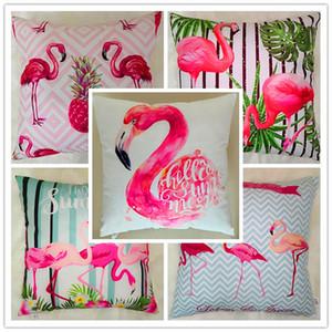 2018 HOT Flamingo Taie d'oreiller Super doux flamingo HD impression numérique housse d'oreiller canapé voiture coussin dossier 45 cm * 45 cm