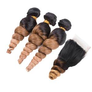 Koyu Kökleri 1B 4 27 Gevşek Dalga Saç Atkı Kapatma Ile 3 Adet Ombre Renkli 1B 4 27 Gevşek Kıvırcık Saç Kapatma Ile 4x4