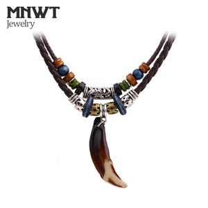 MNWT Тибетский бисер шейки старинные племенной Волк зуб кулон ожерелье кожа храбрые мужчины ожерелье веревки чешские ювелирные изделия