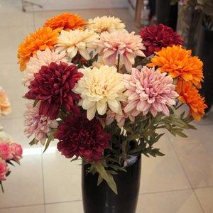 Plantas Jarown Artificial Dálias flor de seda Flores Bouquet Artificial decorativa para o partido da tabela do casamento Decoração Acessório