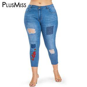 PlusMiss Plus Size XXXL XXL Skinny Ripped Jeans bordados en el tobillo Capris Mom Hole Distressed Pantalones de mezclilla recortada Mujeres Tamaño grande