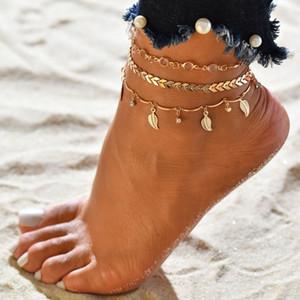 Mehrschichtige Blätter Anhänger Fußkettchen-Fuss-Kette für Frauen Bohemian Handmade Perlen Gothic Boho Fußkettchen-Fuss-Schmuck Großhandel