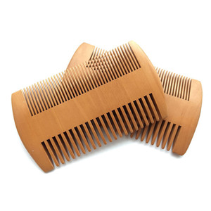 50PCS / الكثير العمل المزدوج الجيب الخشب مشط خشب الخوخ الخشنة الجميلة الأسنان الشعر ثابت لشركة الرعاية التصميم أداة لمكافحة اللحية النفط بلسم
