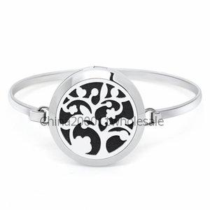 Flower Tree 30mm Magnetic Stainless Steel Bangle Bracelet Aromatherapy Perfume Diffuser Locket Bracelets Jewelry Making Women 10pcs Pads