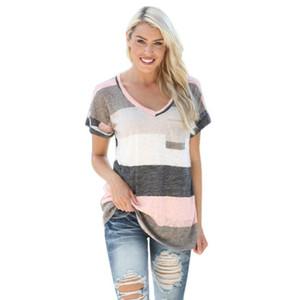 Tshirt Donna Plus Size 5xl Striped Casual Manica Corta Allentato Estate Donna Top Quotidiano Tee Shirt Debardeur Femme # 9021