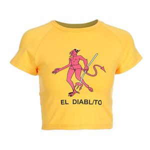 Seksi Ince Bel Kırpılmış T-Shirt Kadın Moda Pamuk Karikatür Baskı T Gömlek Yaz Sarı Örme Tişört O-Boyun Şeytan Üst