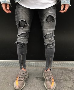 New Spring Fold Mens Jeans Fashion Zipper Hole High Street Style Slim Feet Trousers Mens Motorcycle Pants