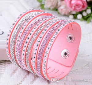 New Fashion multilayer Wrap Bracelets Deluxe Leather Bracelets for women With Crystals Couple Jewelry Charm Bracelets