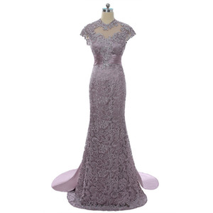 2018 wangyandress purple satin mermaid mother of the bride dresses custom sweep train backless lace mother's dresses formal evening gowns
