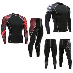 COMPRESSION SUIT 2018 Herren Winter New Thermal Unterwäsche Basisschicht T-Shirt Leggings 2 Stück Trainingsanzug Männer Rash Guard MMA