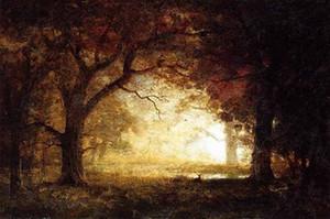 HD dipinto a mano su tela stampa impressionismo paesaggio arte pittura a olio foresta alba su tela, arte della parete di casa multi formato / opzioni di cornice l115