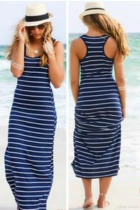 2018 Causal Listrado Maxi Vestido Meninas Praia Verão Colheita Top Vest Vestidos Formais Sem Encosto Saia Noite Sexy Mulheres Longo Maxi Roupas de Noite
