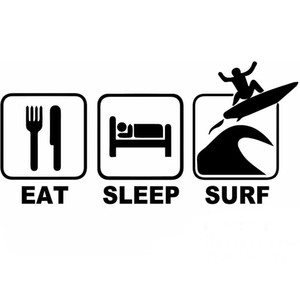 17.8 * 8.7 CM Comer Sleep Surf Car Window JDM Pegatinas divertidos para autos Lap Top Sticker