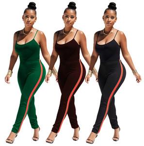 Completo da donna Completo da donna Completo da donna 2018 Summer Slip Top Legging Tuta sportiva Yoga Felpa da donna a righe Tuta bicolore Pantalone Taglie forti