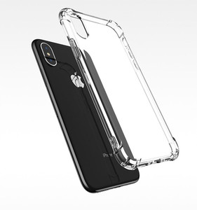 For iphone X XS MAX XR 11 12 Crystal Clear TPU Case Shock Absorption Soft Transparent Panel Back Cover For Samsung S8 S9