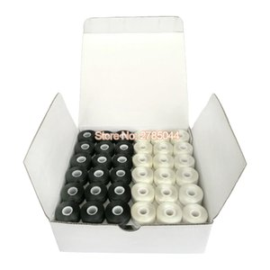 Sanbest Pre-wound Bobbins Thread, 70D 2 High Tenacity Polyester & 75D 2, Sideless, Size L, 144pcs per Box, White & Black