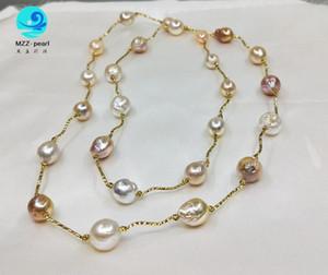 12x13mm kultivierte barockes Süßwasser Natürliche Zinnbecher Halskette Perle mit mit Sterling-Silber Rohr Halskette