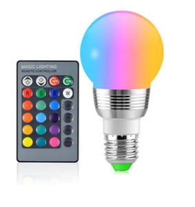 16 couleurs dimmable RVB LED ampoule magique E27 7W 85V- 265V lampe pour décor de vacances atmosphère lumière de nuit + télécommande IR