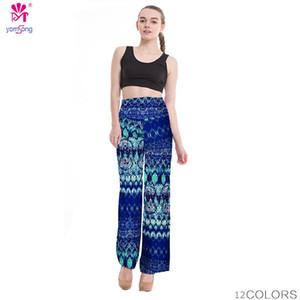 2018 altura de la cintura sueltos pantalones palazzo ancho pantalón floral impresión del patrón tribal del tamaño extra grande de las bragas Palazzo pantalones más el tamaño 238