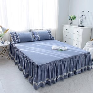 1/3Pcs  Rufflled Bedspread Lace Maress cover Bed Skirt Blue/White/Pink Bedding Bed Sheet PillowcasesTwin Queen King Size