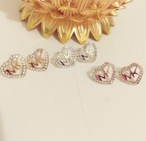 Las mujeres de la señora lujo amor corazón diseño letra Rhinestone pendiente moda estilo pendientes Stud