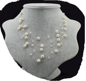 chaming pearl 925 silve stars chain lady's necklace (23) 6u6