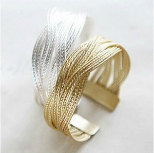 Aleación de oro / plata chapada de punto trenzado de metal ratán brazalete brazalete pulseras mujeres tejen joyas pulsera de moda