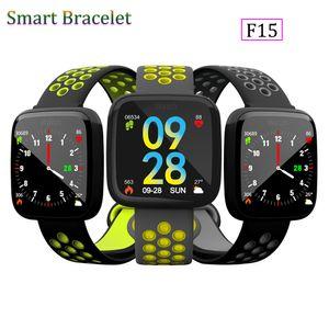 Neue Mode F15 Smart Armband Uhr Band fitness tracker Blutdruck Pulsmesser Thermometer Schrittzähler Armband für Android IOS