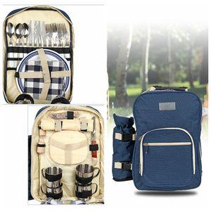 Acampar yendo de excursión bolso de la comida campestre 4 persona con vajilla mochila de viaje al aire libre mochila conjunto bolso de la manija DDA723 mochilas