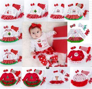 Рождество Новорожденных девочек ползунки 4 ШТ. Набор Малышей Боди Туту Платье Чулок Бантом Оголовье Prewalker Рождество Горошек Детские платья подарок