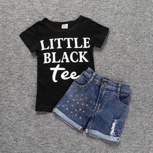 Wholesale +denim Girls Letters Suits Children Suit Sleeve Short Summer Girls 2 Shorts T-shirt Pieces Set Fashion Designer Kids Clothes Dbxt