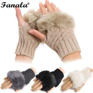 2018 новинка зимняя рука теплее перчатки без пальцев, трикотажные перчатки меховой отделкой варежки N3020
