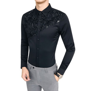 Camisa Masculina  New Korean Slim Fit Tuxedo Men Shirt Long Sleeve Lace Patchwork Casual Dress Shirts Mens All Match Blouse
