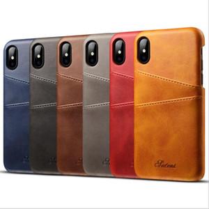 Estojo de couro do telefone móvel para o iphone x / 9 8 7 / plus / 6 6 s / galaxy s9 / nota 8 / s8 / hua mate 10 / p20 / p20 pro 2in1 slot para cartão de couro tampa da aleta