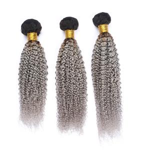 # 1B / 그레이 옹 브르 페루 인간의 머리카락 묶음 다크 루트 실버 그렉 킨키 컬리 버진 인간의 머리카락 weft 연장 3pcs 많은