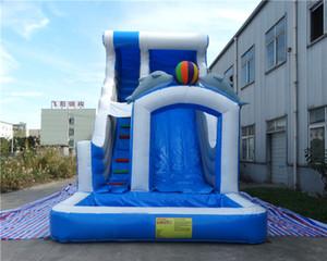infláveis toboáguas crianças double golfinho slide com ventilador transporte livre para venda