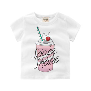 2018 Verão New Enfant Meninas T-shirt de Algodão ice cream imprimir Crianças Roupas Tops Crianças undershirt Bebê T-Shirt de Manga Curta 2-8