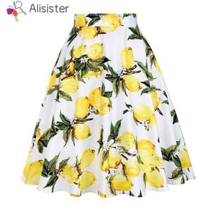 Impresión del limón de la vendimia Falda de las mujeres 2018 Verano de Algodón Plisado de Cintura Alta A-line Faldas Ele50s 60s Fiesta Casual Midi Faldas