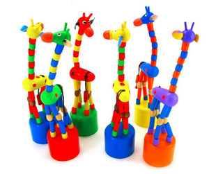 Colorful Wooden Blocks Rocking Giraffe Toy For Baby Stroller Toddler Kids Educational Dancing Wire Toys Kids Pram Accessories