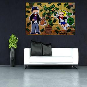 ALEC MONOPOLY RICH TREE, Portrait MODERN ABSTRACT GRAND ART PEINTURE À L'HUILE DÉCORATION MURALE CADRE CADRE / ÉTIRÉ
